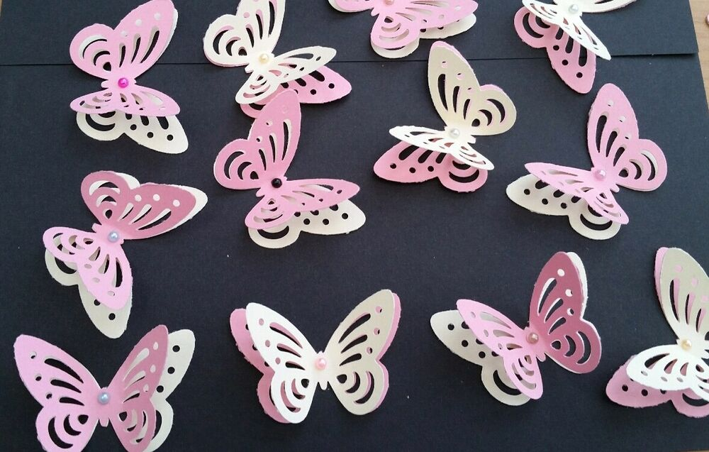 Details About 24x Baby Shower Birthday Table Decorations 3D Butterflies Pink And Yellow