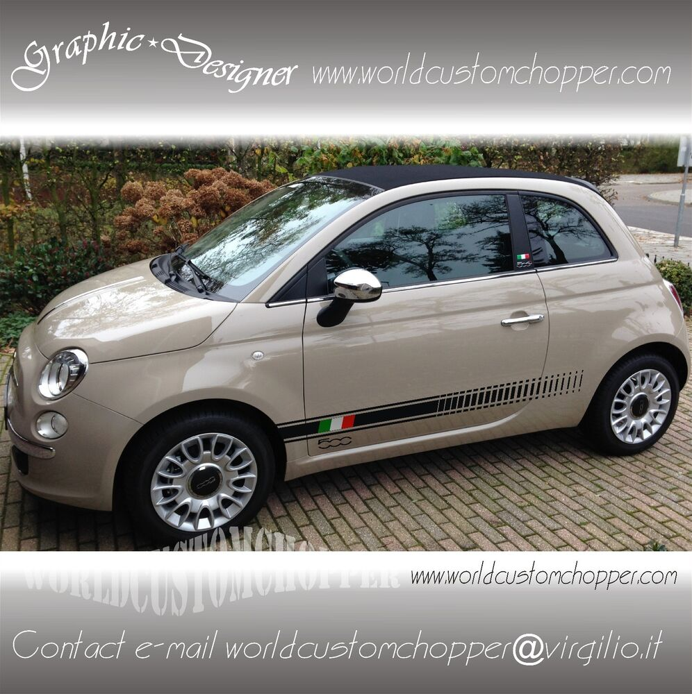 2 fasce adesive fiat 500 italia 2 loghi 500 auto tuning stickers decal ebay. Black Bedroom Furniture Sets. Home Design Ideas