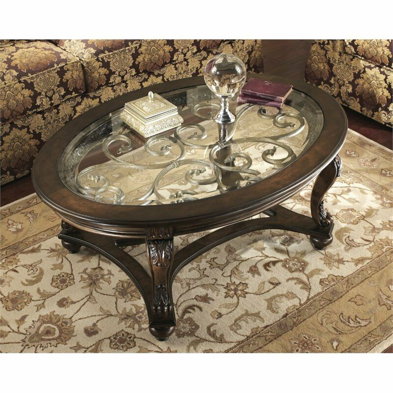 Round Coffee Tables On Ebay: Ashley Norcastle Oval Coffee Table In Dark Brown