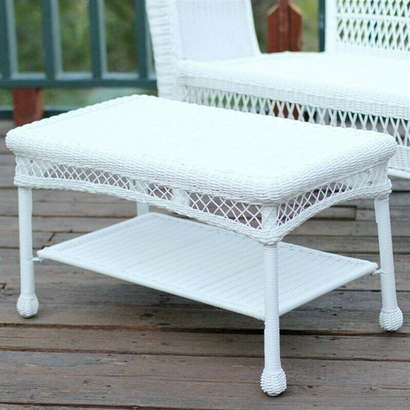 Jeco Wicker Patio Furniture Coffee Table In White