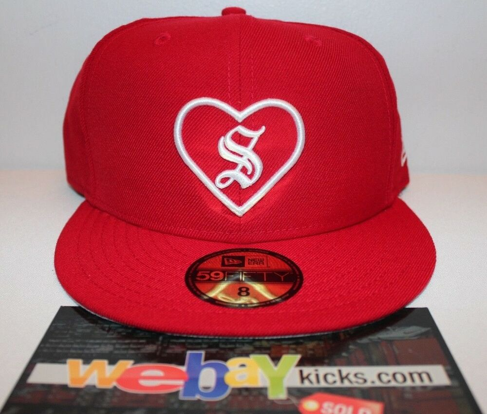New Era Supreme New York Heart Red White Size 8 Fitted Cap Hat FW17H105 New   f1ced1bb9a2