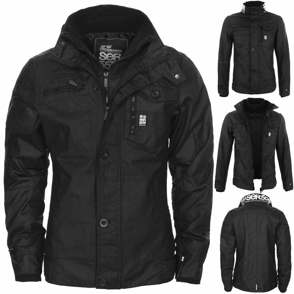 NEW MENS CROSSHATCH JACKET FULL ZIP DOUBLE LAYER PADDED ...