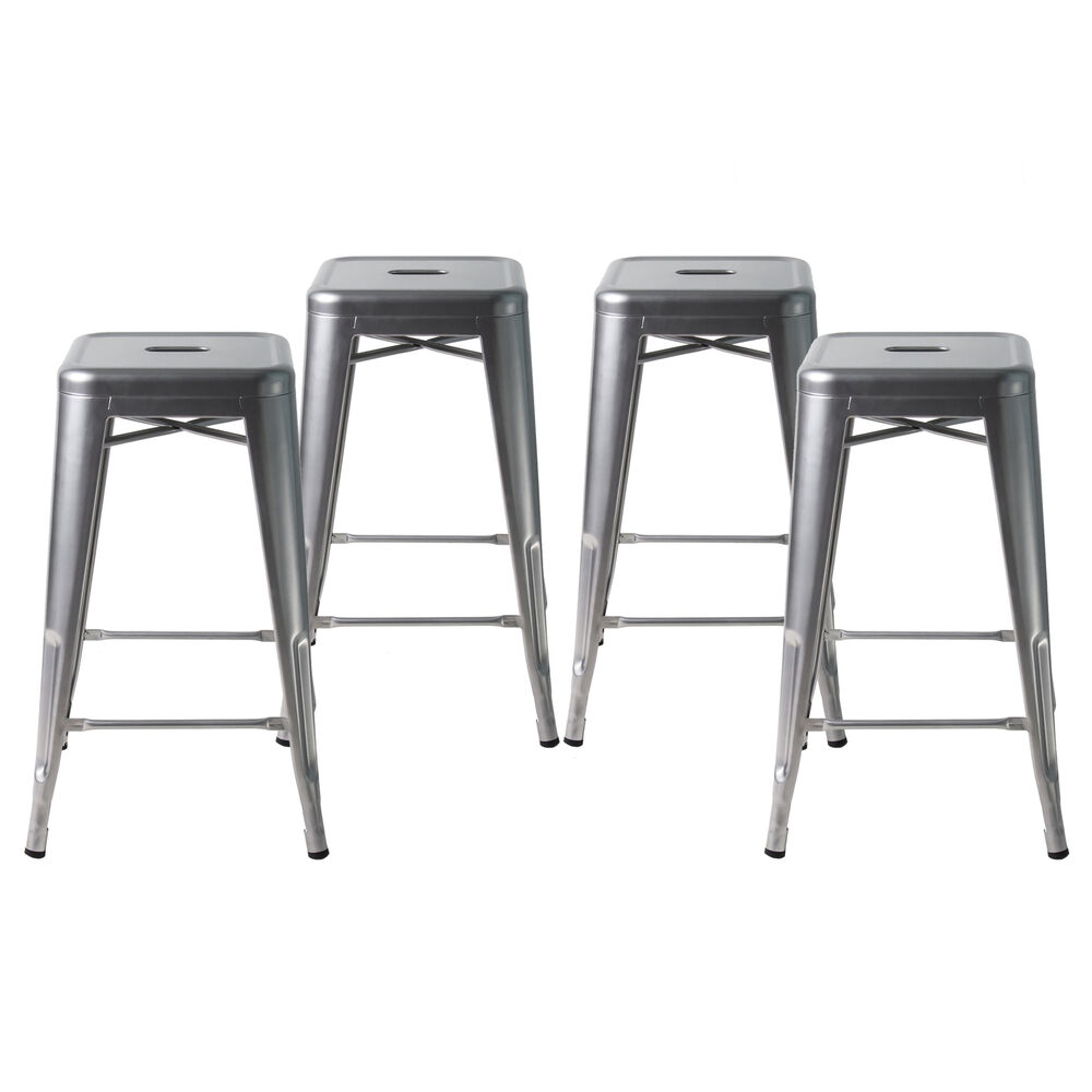 Set Of Four Gray 24 Inches Counter High Metal Bar Stools Indoor