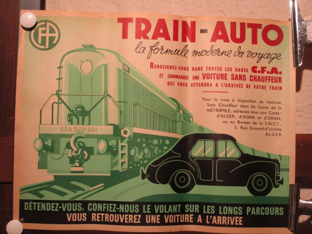 Affiche train auto transport algerie annees ebay