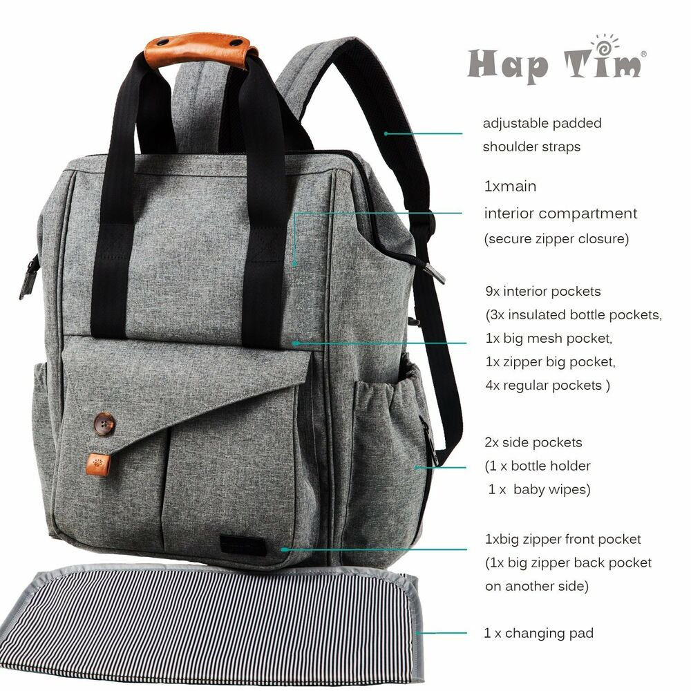 697039d79990 Details about HapTim Multi-function Baby Diaper Bag Backpack with Stroller  Straps