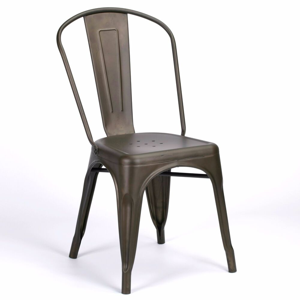 TOLIX INSPIRED VINTAGE ZINC IRON STYLE METAL DINING CHAIR INDUSTRIAL ...