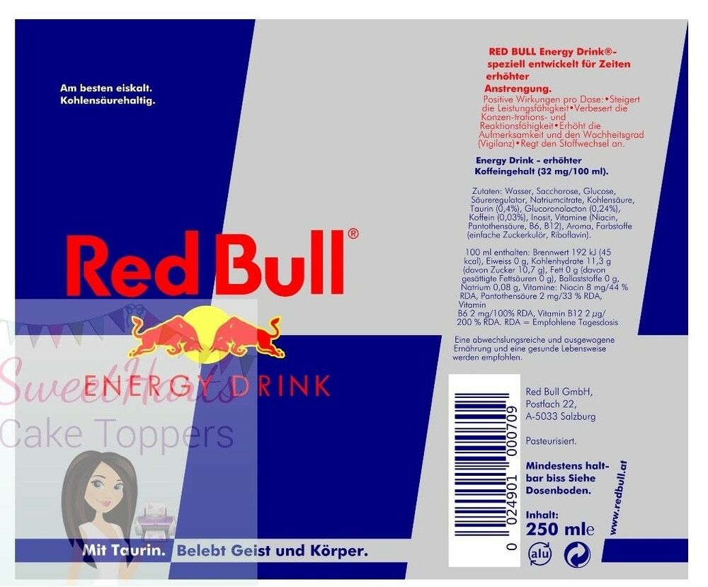 Red Bull Can Label Edible Icing Cake Topper Decoration Ebay
