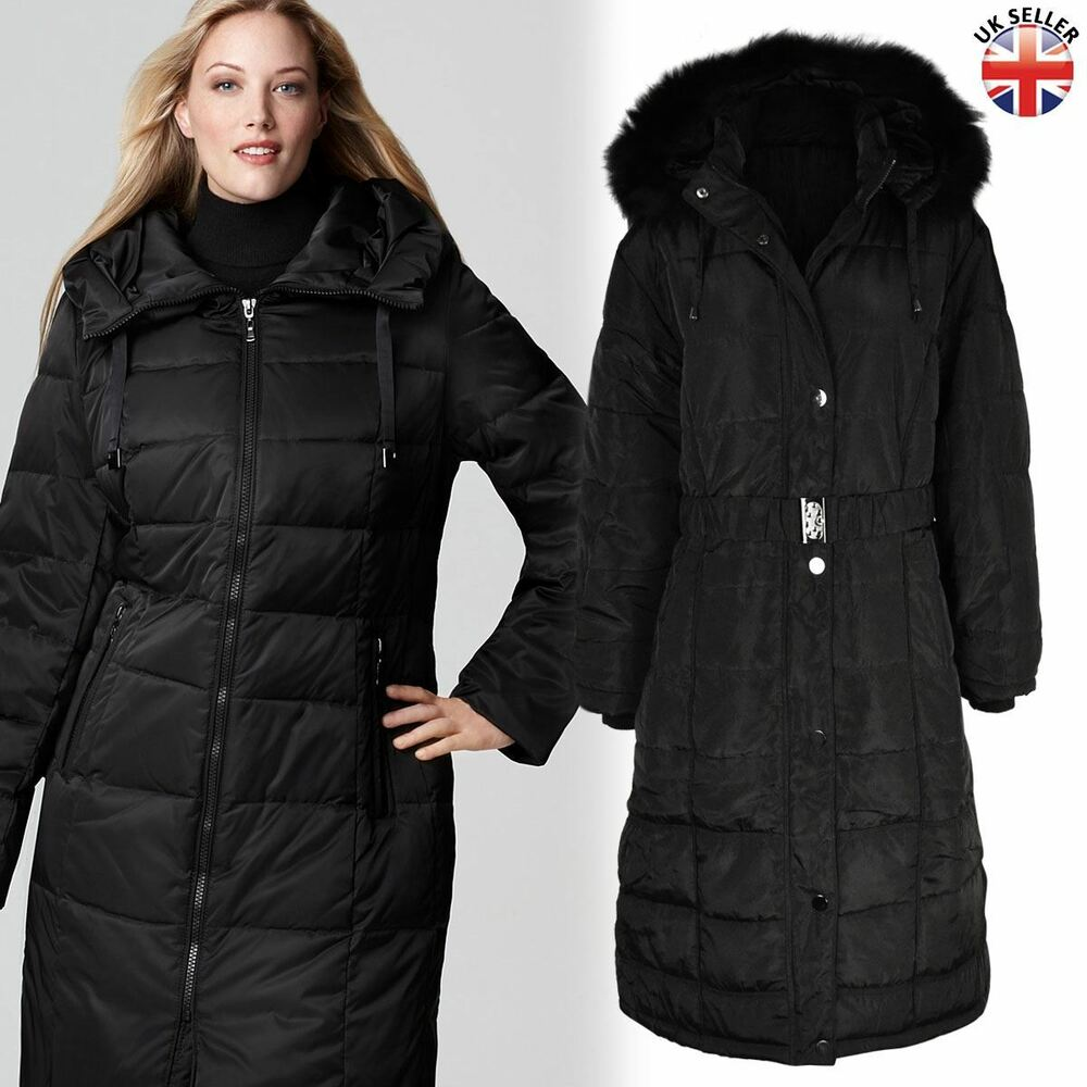 b05687bacd3f0 Details about LADIES WOMENS PLUS SIZE FUR HOODED QUILTED PADDED WINTER COAT  PUFFA PARKA JACKET