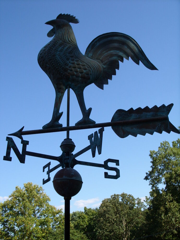 Large Copper Rooster Weathervane Functional Copper Chicken