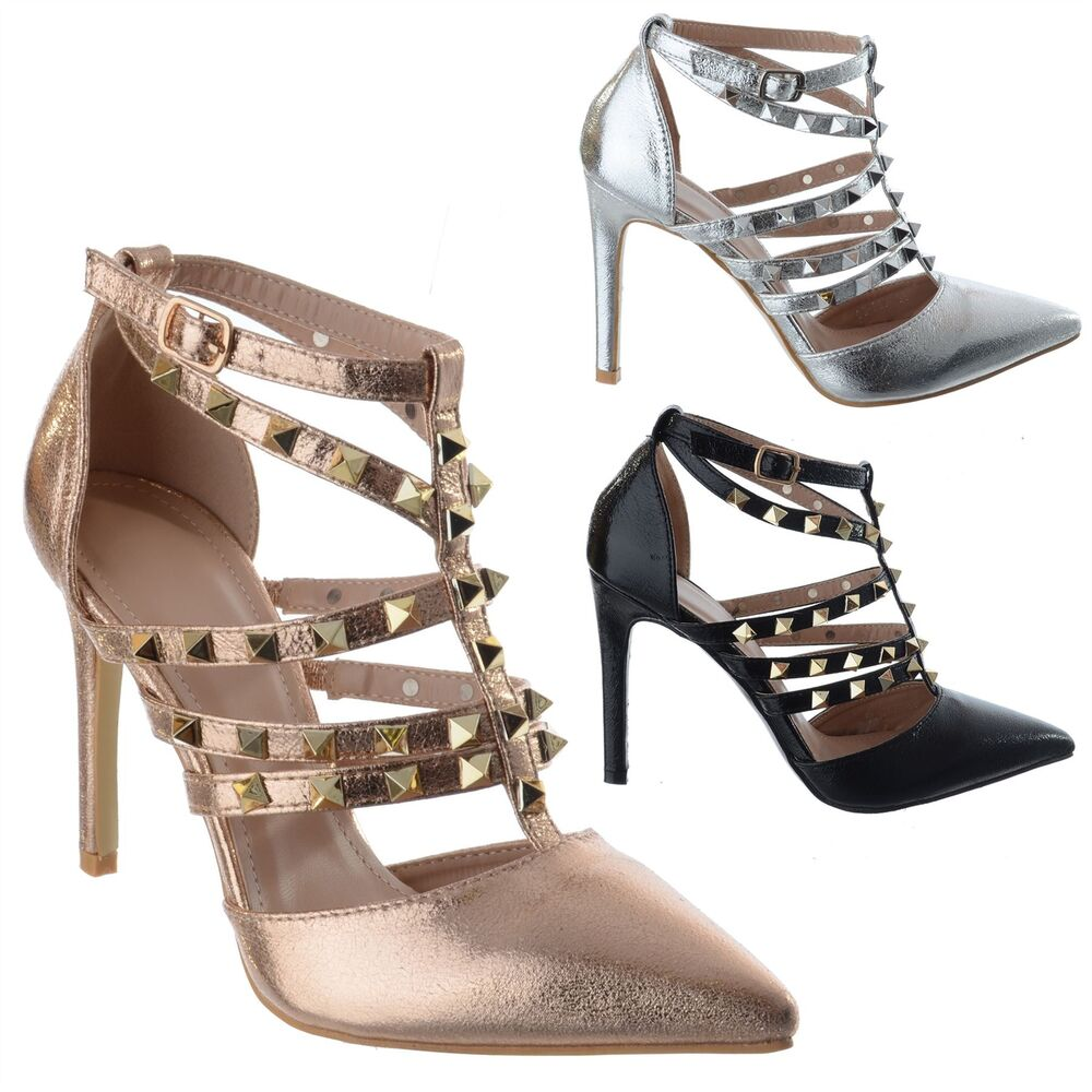 Womens Ladies Studded Pointy Toe Strappy High Stiletto