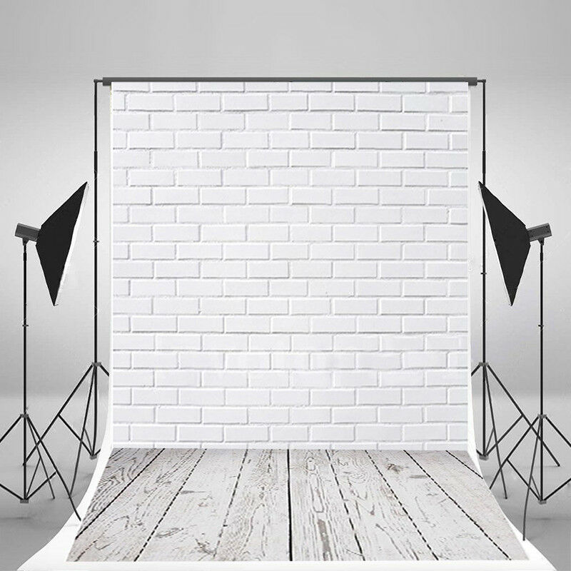 Details About 3x5ft White Brick Wall Wood Floor Photography Backdrop Studio Photo Background
