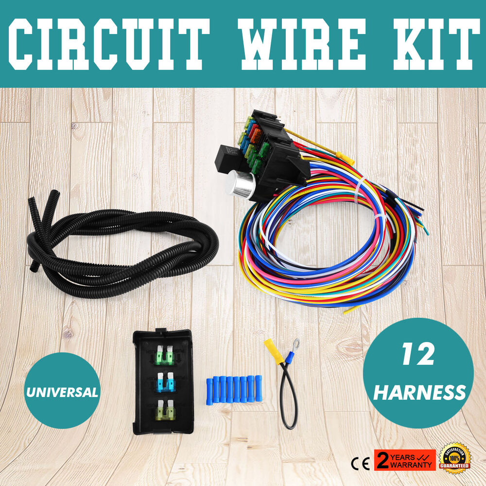 universal 12 circuit wire harness muscle classic cars fuse. Black Bedroom Furniture Sets. Home Design Ideas