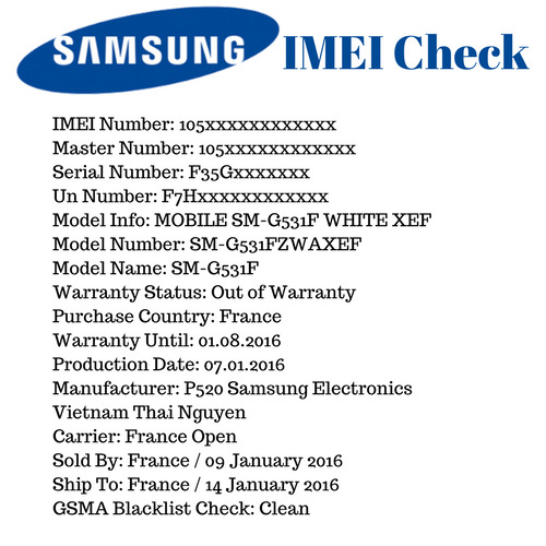 samsung imei serial number check