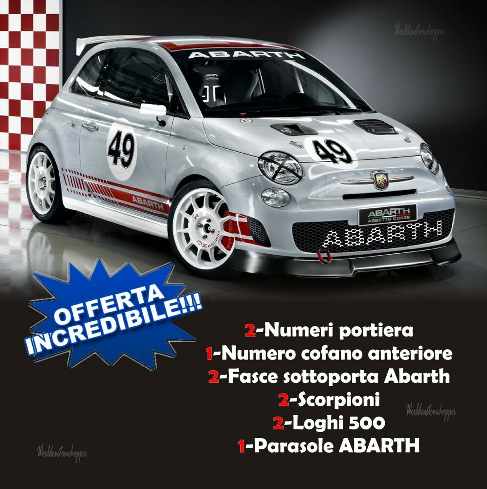 aufkleber set racing fiat 500 abarth corse sport racing. Black Bedroom Furniture Sets. Home Design Ideas