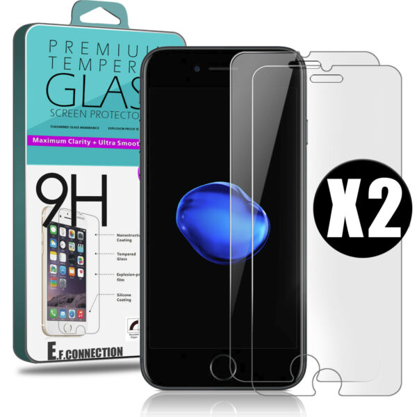 2 Vitre Protection film protecteur écran Verre Trempé Glass iPhone 8/7/6/5/SE/X