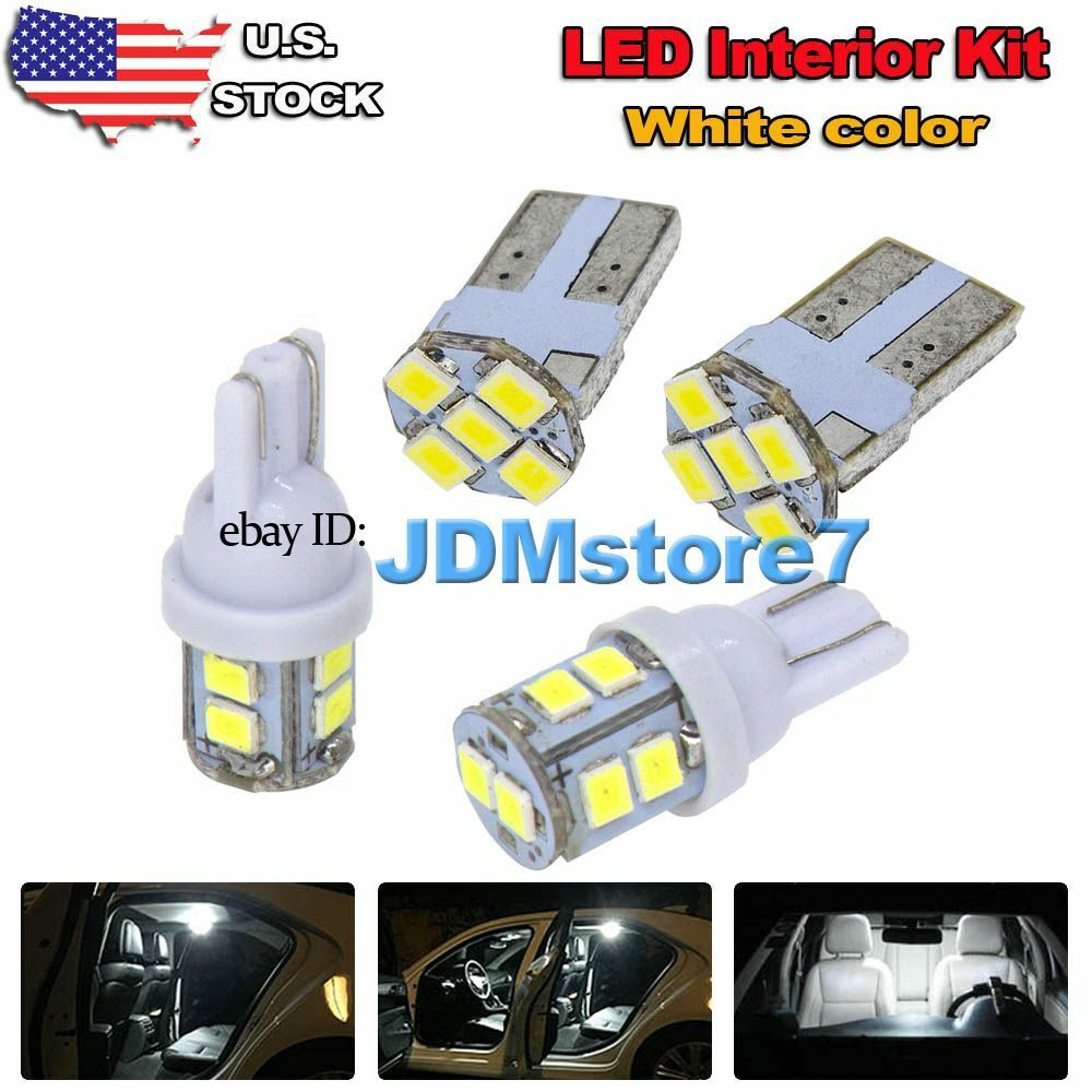 11x White LED Map Dome Light Interior Bulb Package Kit For