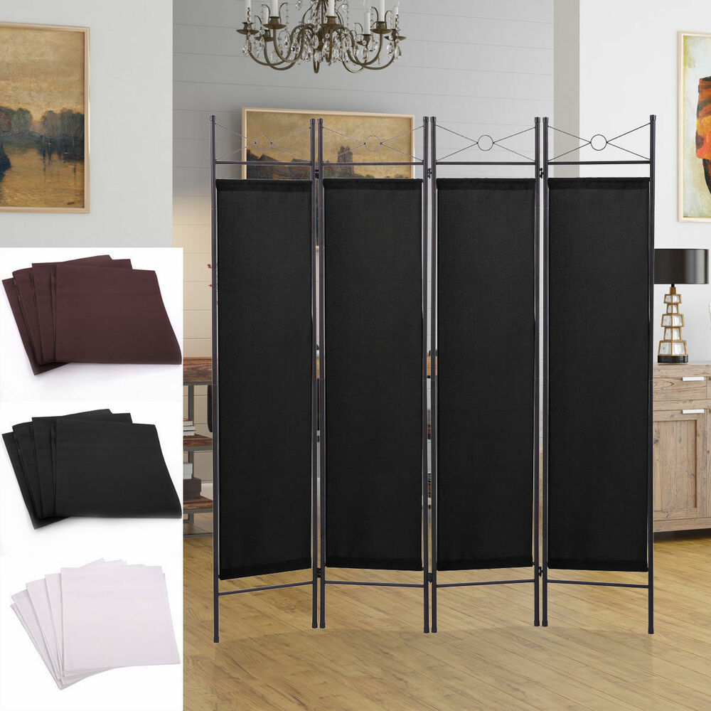 Fabric Office Partitions : Panel screen room divider fabric metal frame folding