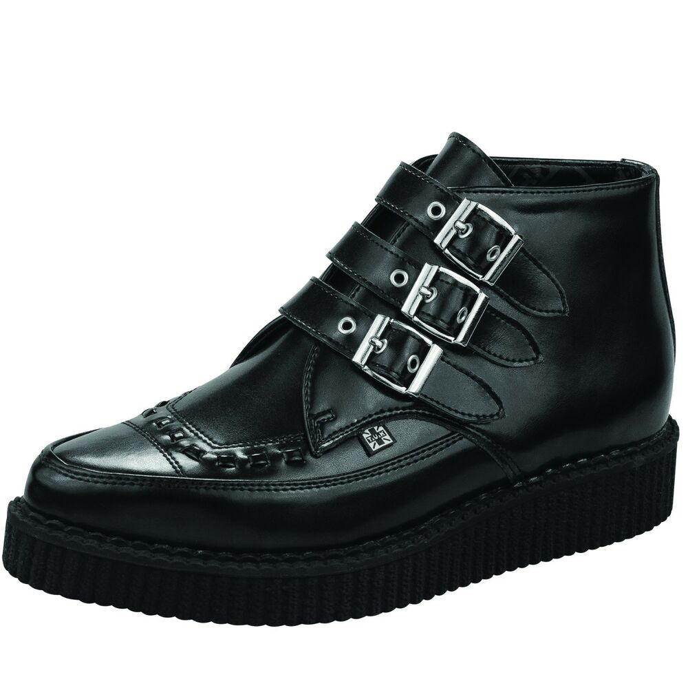 e53a4b834aa T.U.K Shoes Black Leather Buckle Up Pointed Creeper Boots 840799089776