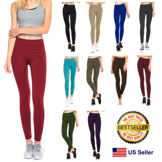 5524bf49fe Details about Womens Fleece Lined Leggings Warm Winter Thick Solid Colors  Regular   Plus Size