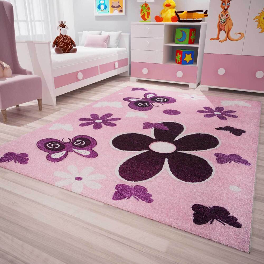 kinder teppich modern kinderzimmer sterne blumen. Black Bedroom Furniture Sets. Home Design Ideas