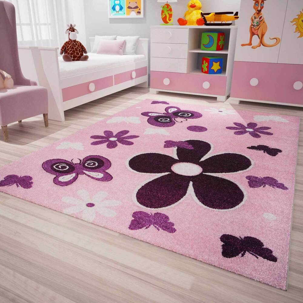 kinder teppich modern kinderzimmer sterne blumen schmetterlinge in pink lila ebay. Black Bedroom Furniture Sets. Home Design Ideas
