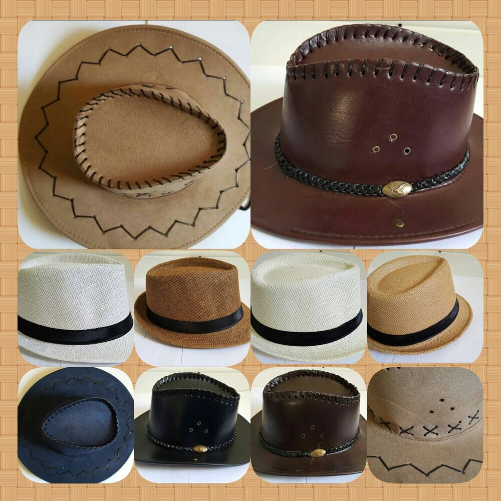 Details about New Men s Leather Cowboy Stetson Western Country Style Wide  Brim Summer Sun Hat 8e9b1001ef0