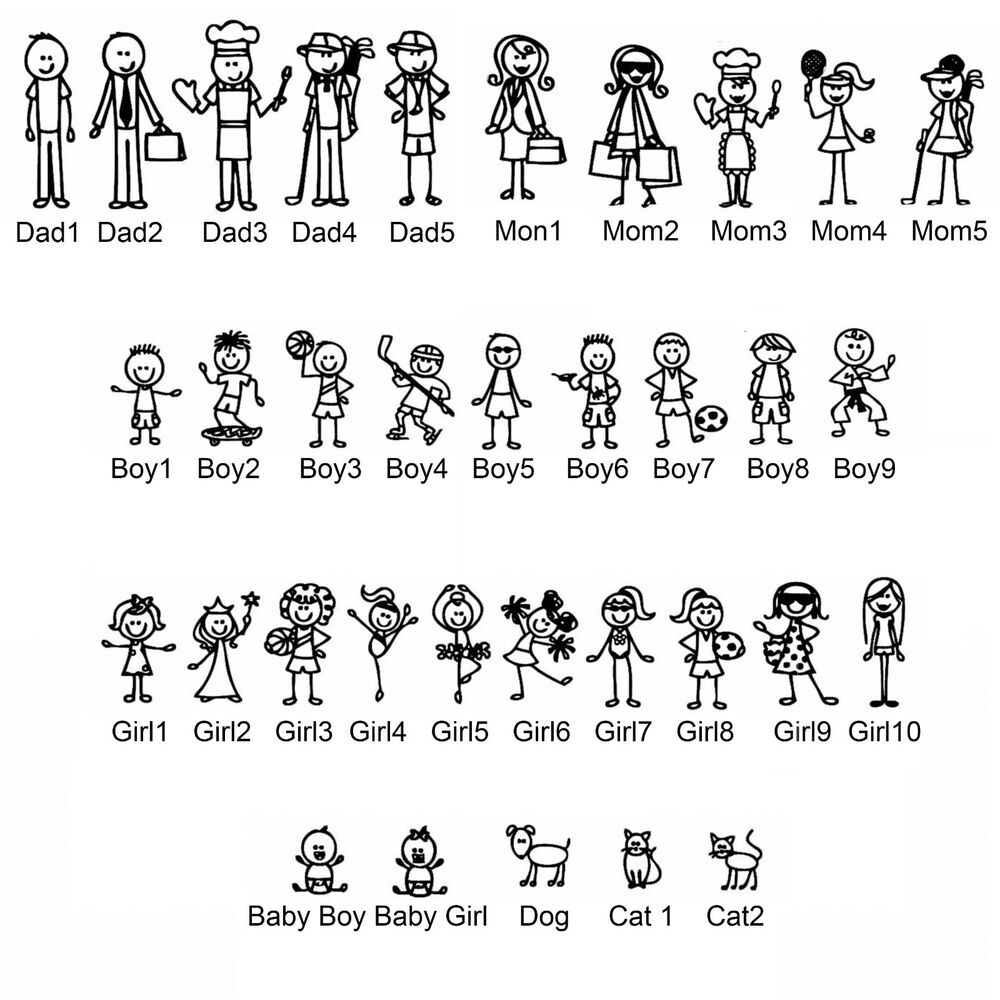 Details about custom stick figure family vinyl diecut decal for car truck window