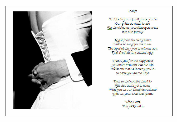 Gifts To Give Parents On Wedding Day: Personalised Wedding Day Poem Gift