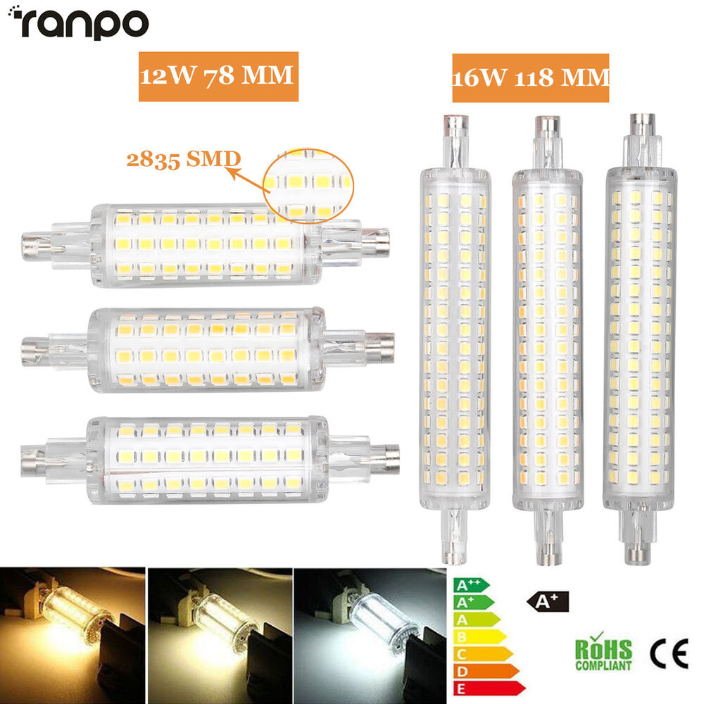 Led flood light r7s 78mm 118mm bulb 12w 16w 2835 smd for Led r7s 78mm 20w