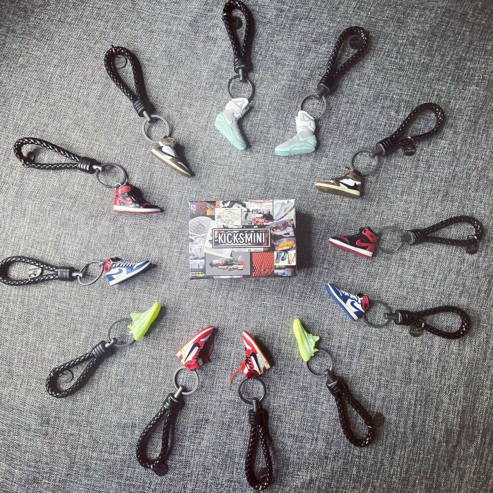 a79a0636e74ecc Details about Kicksmini Air Jordan YZY Handcrafted 3D Sneaker Keychain with  Box Bag Gift Set