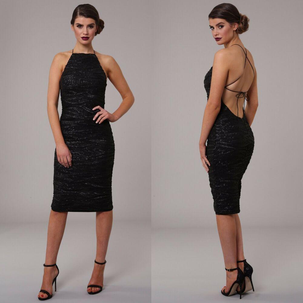 Womens Honor Gold Luxe Sequin Backless Design Midi Evening