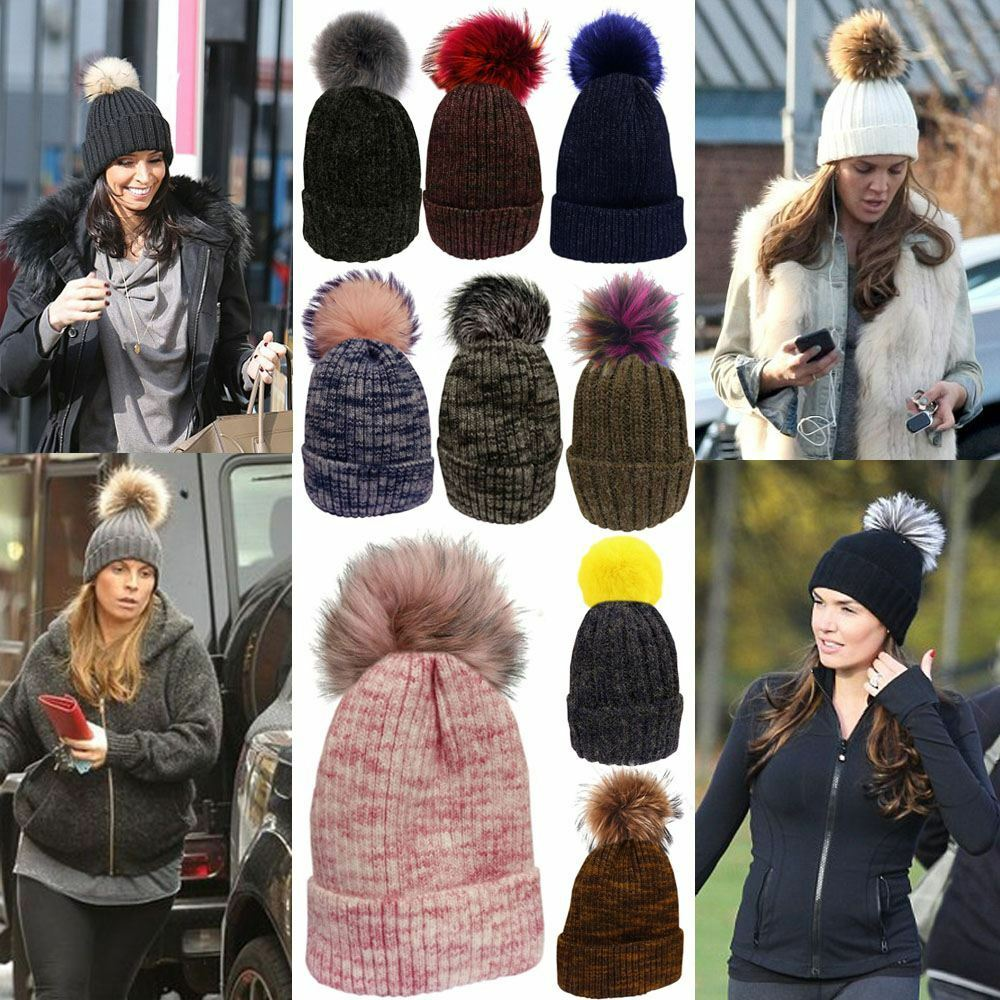 6e11b021d9b Details about Womens New Customizable Knitted Wool Patterned Faux Fur Pom  Pom Bobble Girls Hat