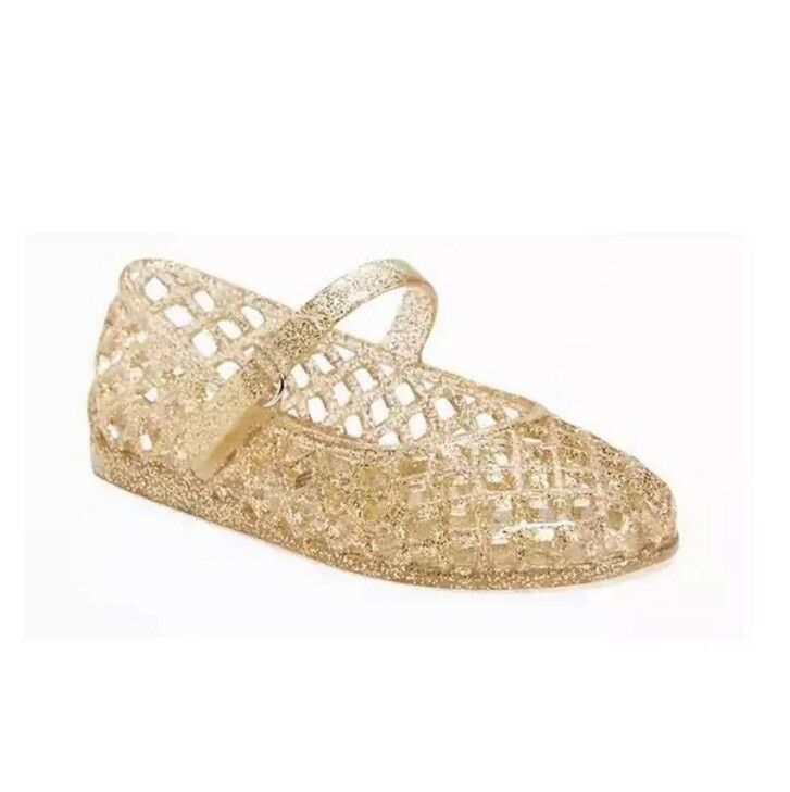 f09b1be92b0a Details about Old navy girls Gold Jellies sandals size 5 NWT
