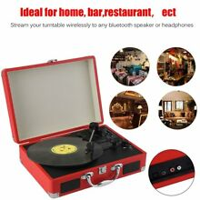 New Portable Turntable Record Player Retro Oldies Old Suitcase Vintage 3 Speed V