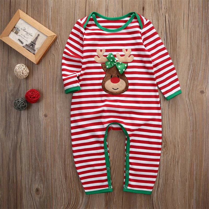 Us Newborn Infant Baby Boy Girl Christmas Romper Bodysuit