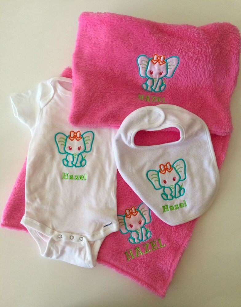 38c2a0f55 Details about Personalized Baby Blanket Pillow Case One-Z Bib 5Pcs.Gift Set  Free Shipping USA