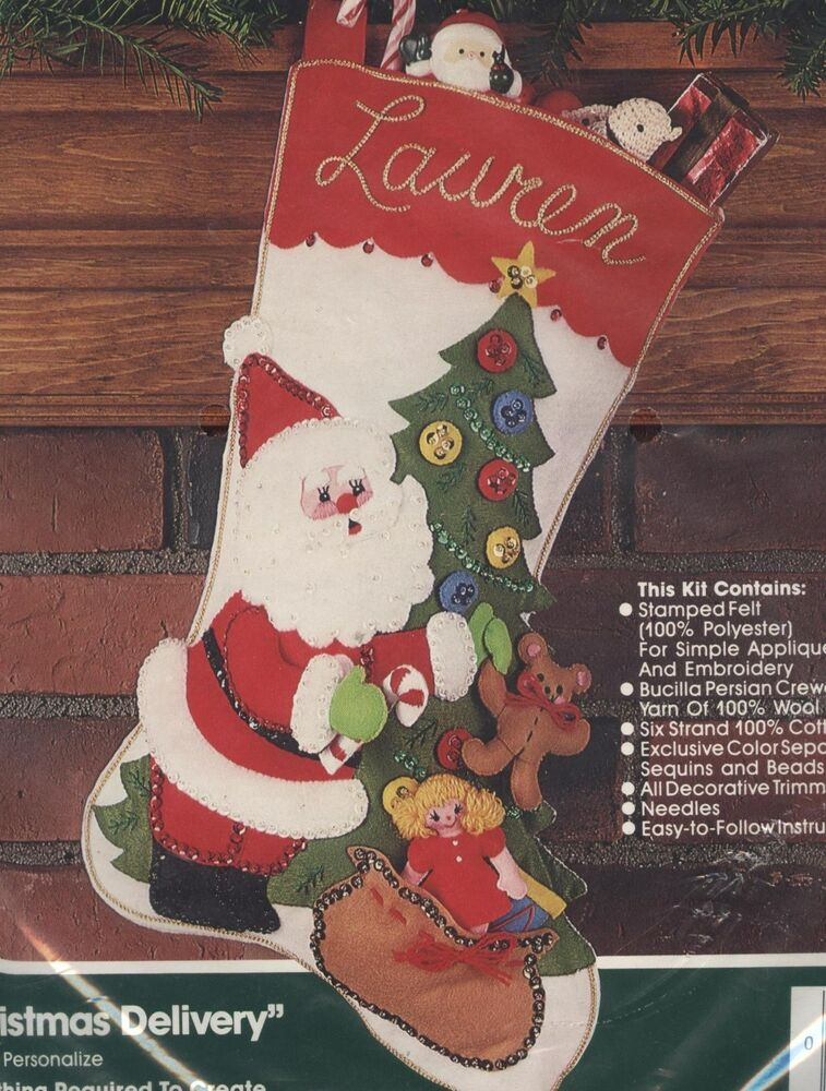 42686e658 Bucilla Felt Applique Kit Santa 'Christmas Delivery' 18