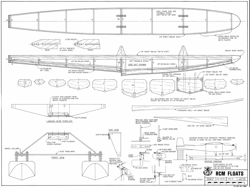 60 Size Floats Rc Model Airplane Printed Plans