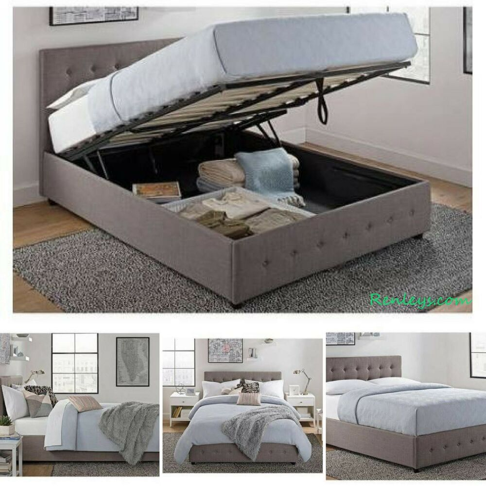 queen size bed frame with shoe storage tufted headboard linen gray platform