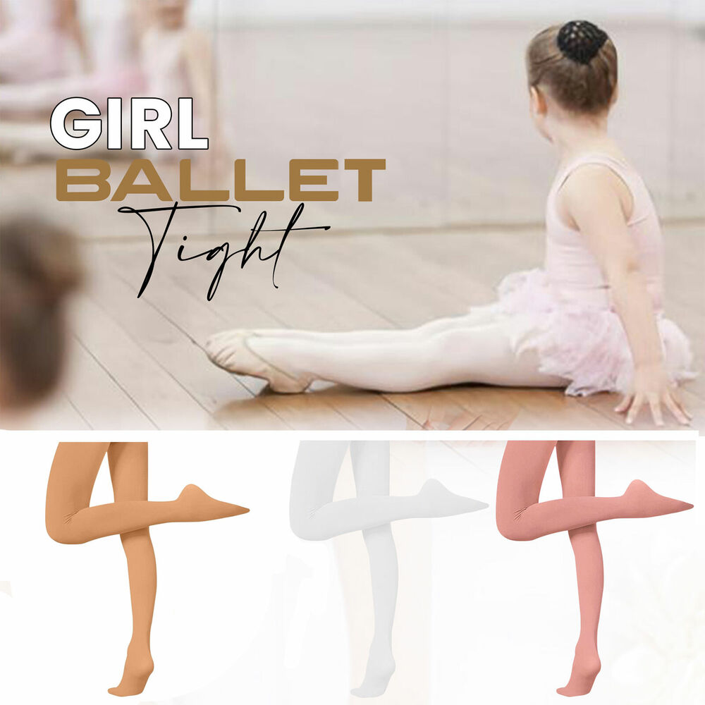 cdd6b6b04 Girls Ballerina Ballet Dance Tights White Pink Natural Tan Ages 3-14 ...