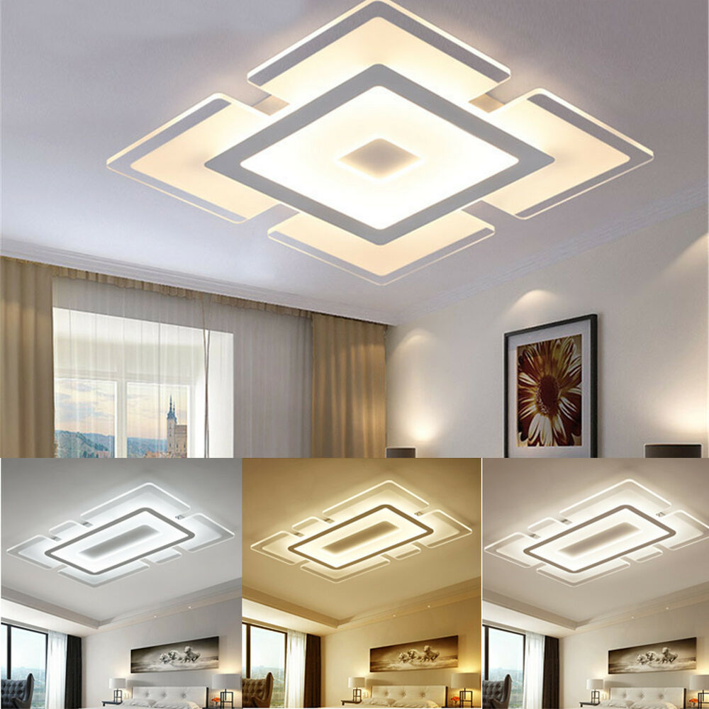 Light Filled Contemporary Living Rooms: Modern Simple Square Acrylic LED Ceiling Light Living Room