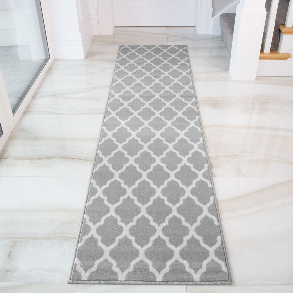 Grey Taupe Trellis Runner Rug For Hall Long Narrow