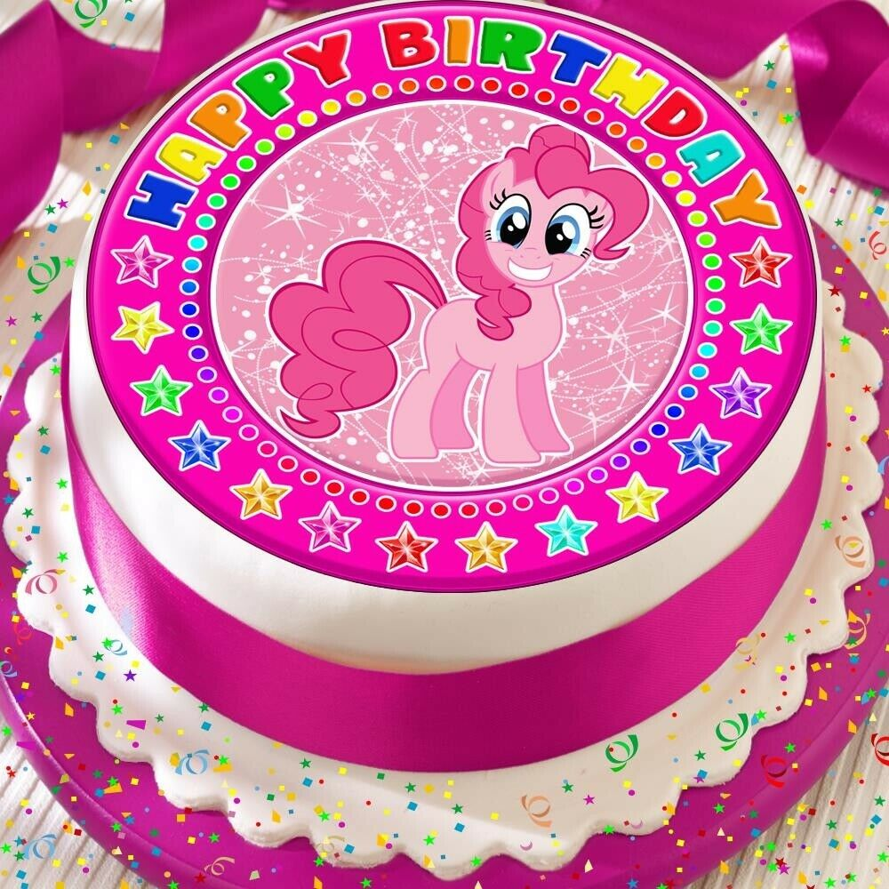 Details About MY LITTLE PONY PINKIE PIE PRECUT EDIBLE ICING 75 INCH CAKE TOPPER BIRTHDAY 516