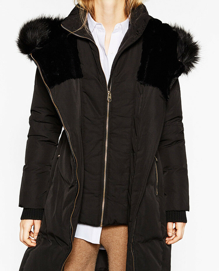 Zara Long Black Duck Down Quilted Water Repellent Puffer