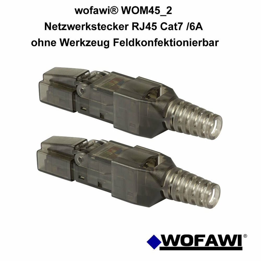 wofawi 2x netzwerk stecker rj45 cat 6a 7 feldkonfektionierbar ohne werkzeug 4251072394658 ebay. Black Bedroom Furniture Sets. Home Design Ideas