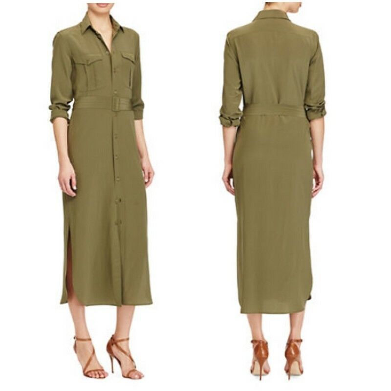 4228c54b8 Details about NWT Polo Ralph Lauren Silk Crepe Button Down Olive Green Midi  Shirt Belt Dress