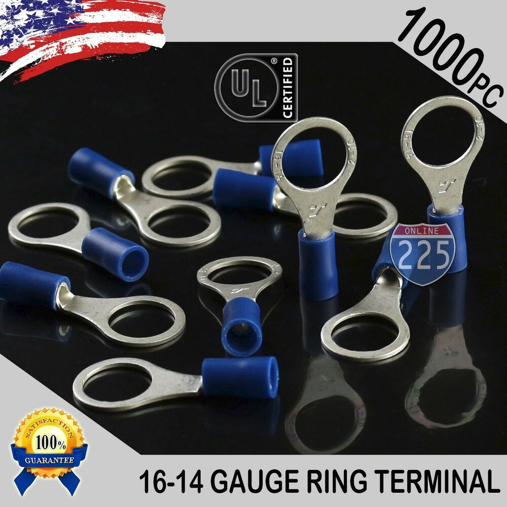 """1000 PACK 16-14 Gauge 1//4/"""" Stud Insulated Vinyl Ring Terminals Tin Copper Core"""