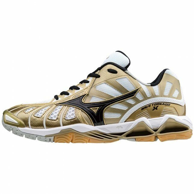the latest 59eb8 c00ee Details about Mizuno WAVE TORNADO X Gold White Men Volleyball Shoes  V1GA161250