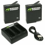 Wasabi Power Battery (2-Pack) & Triple Charger for GoPro HERO5, HERO6