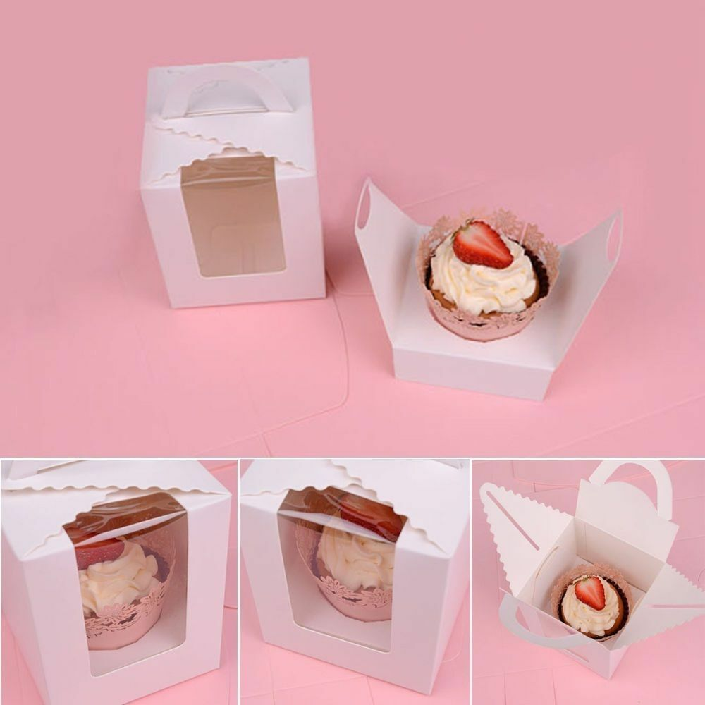 1/5/10 Pcs Single Cupcake Muffin Fairy Cake Boxes Clear Window Gift ...